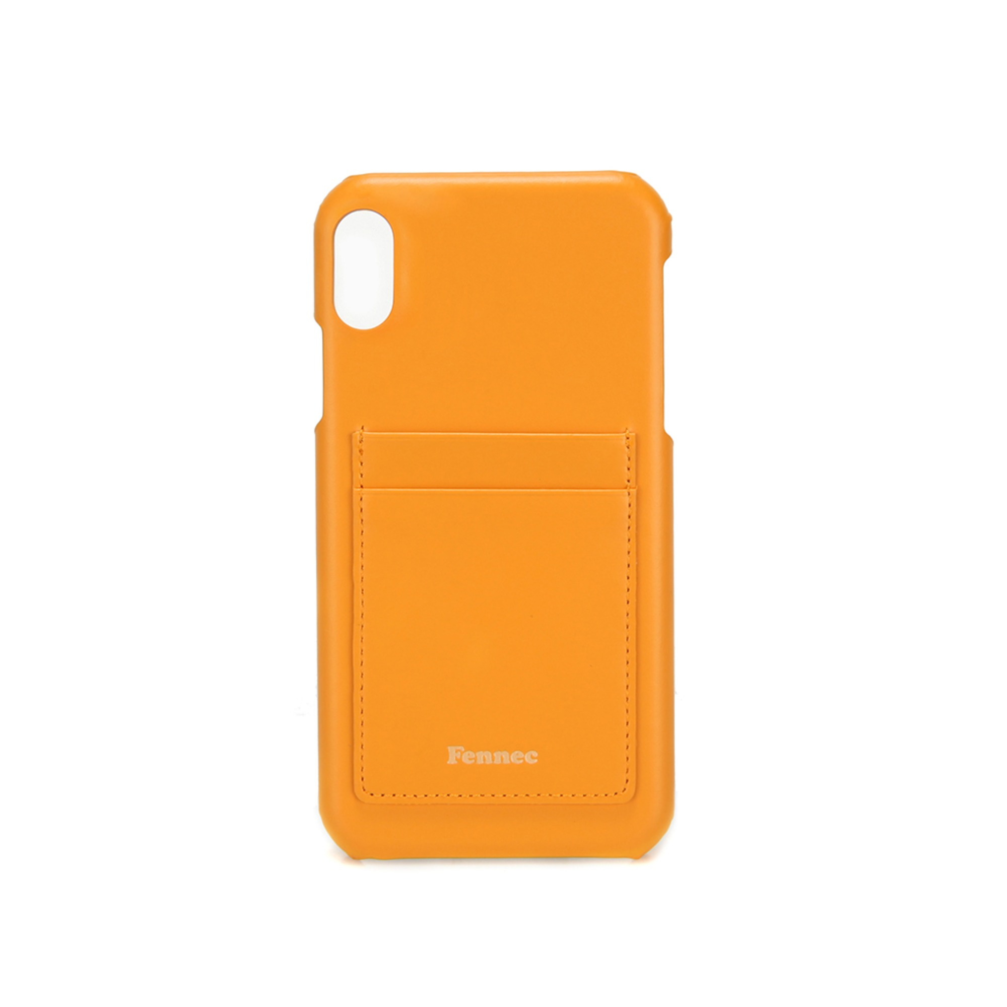 [DISCONTINUE] LEATHER iPHONE XR CARD CASE - MANDARIN