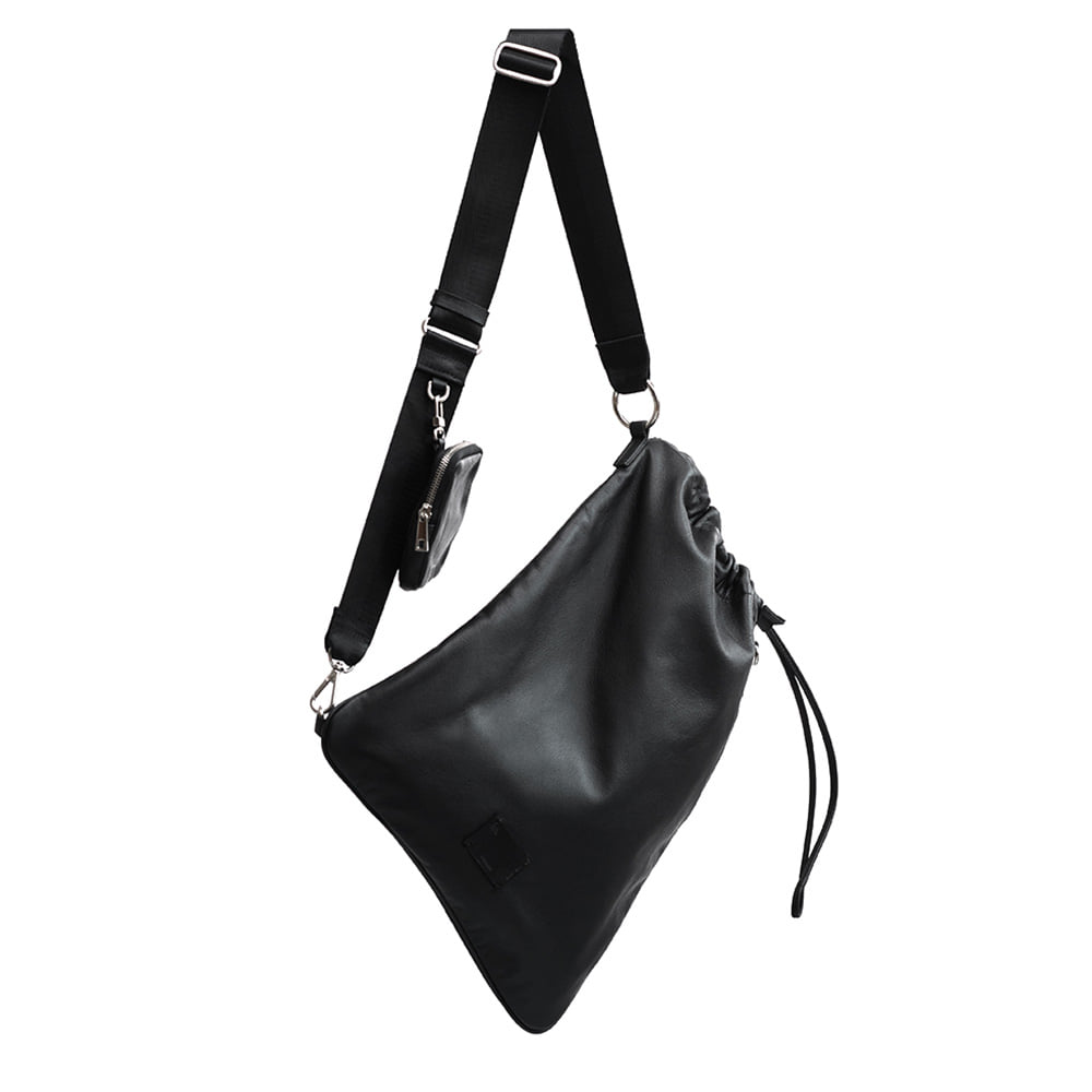 LEATHER SLING BAG - BLACK