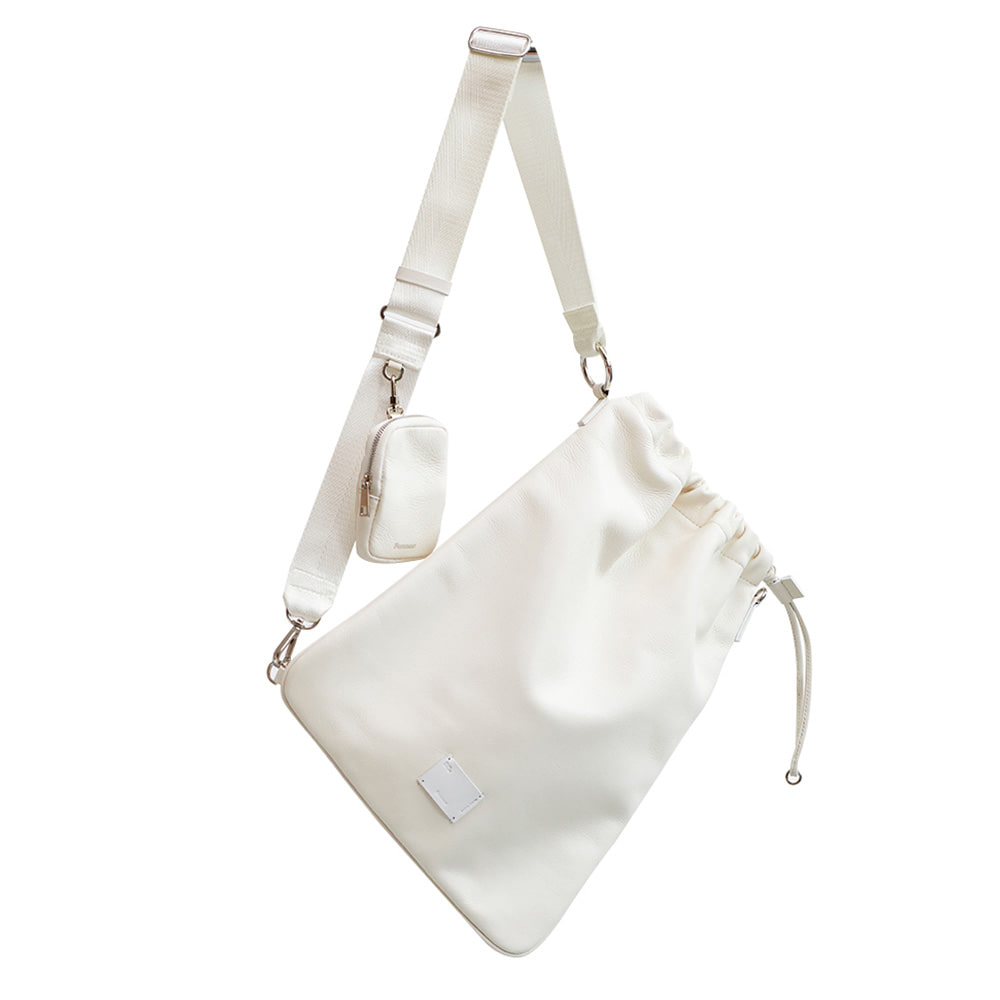 LEATHER SLING BAG - CREAM